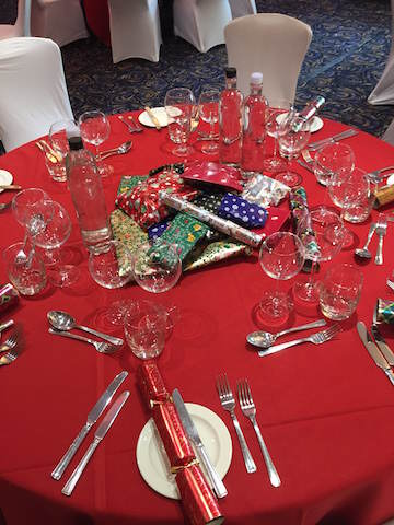 Beautiful tables with presents for the